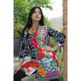Panther tunic with floral print