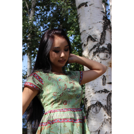 Indian lime dress with print. Wholesale and retail!