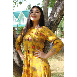 Indian dress with a bright print